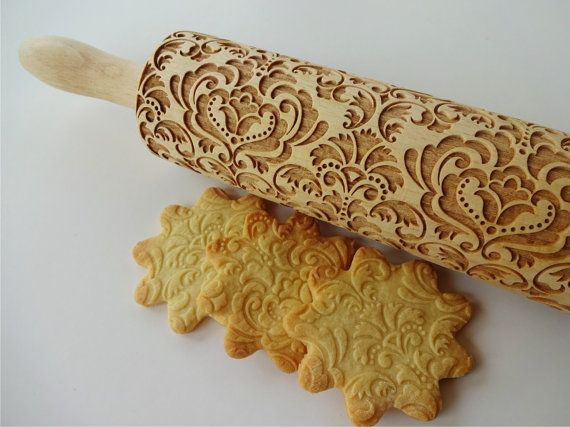 Wooden engraved rolling pin for embossed cookies with skulls and crossbones. Description from etsy.com. I searched for this on bing.com/images