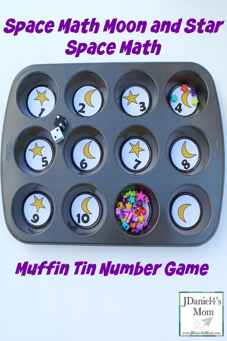 Space Math- Moon and Star Muffin Tin Number Game
