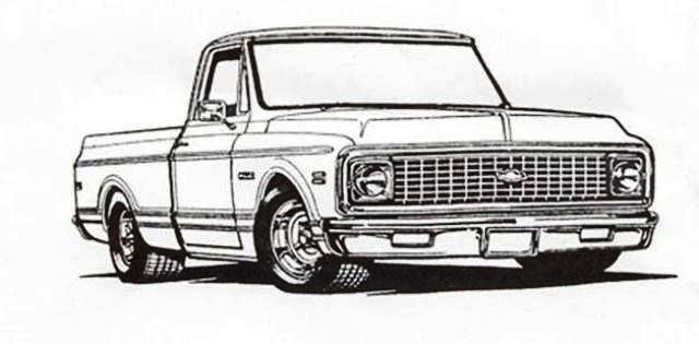chevy chevelle coloring pages - 1981 chevy pickup truck drawings retro truck parts your