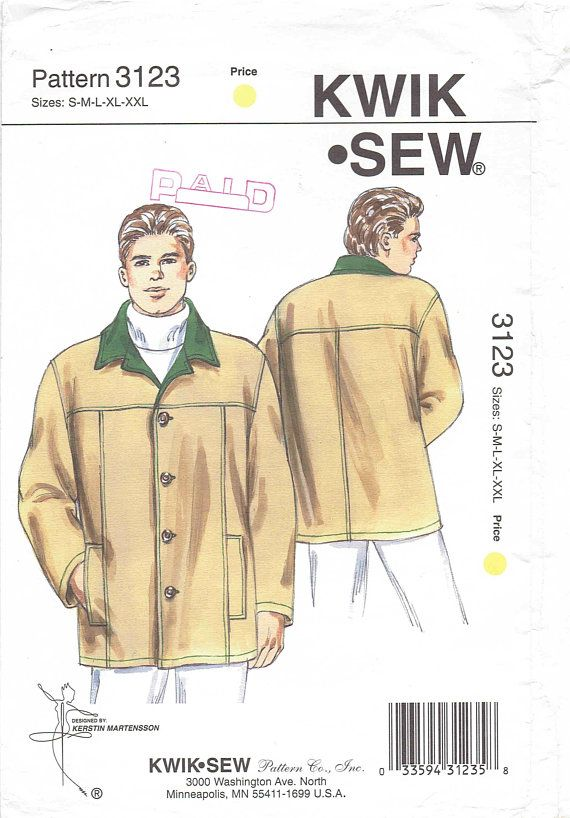Men\'s Jacket Pattern Kwik Sew 3123. Duffle Coat, Contrast Collar ...