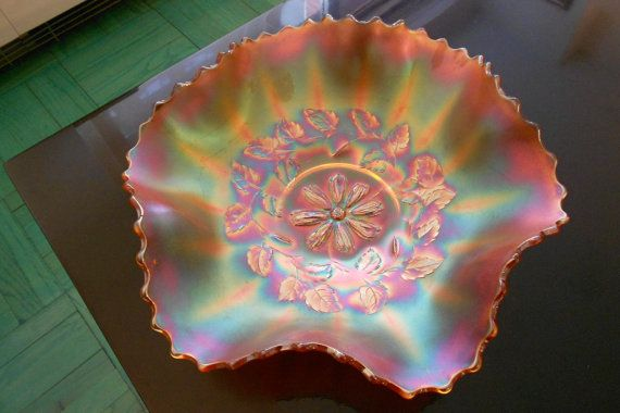 Diamond Glass Company, Carnival Glass, Marigold, Ruffled Bowl with Cosmos Variant Pattern