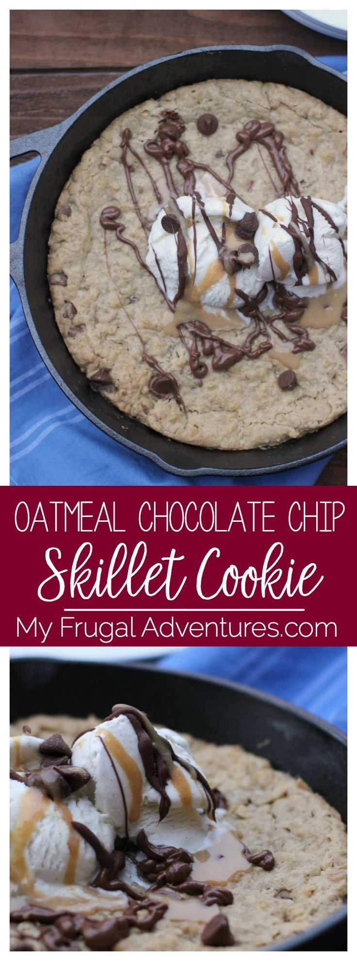 Oatmeal Chocolate Chip Skillet Cookie- this is soft, chewy and delicious!  Homemade version of the famous pizookie that comes together in just minutes.