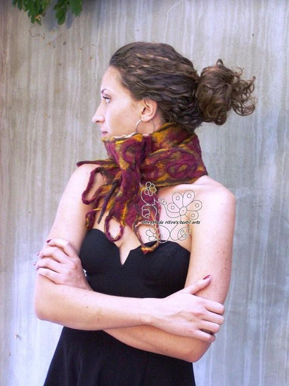 Burgundy felt freeform long boho fashion scarf merino wool Use this coupon XMAS17 #xmas17 #christmasgift