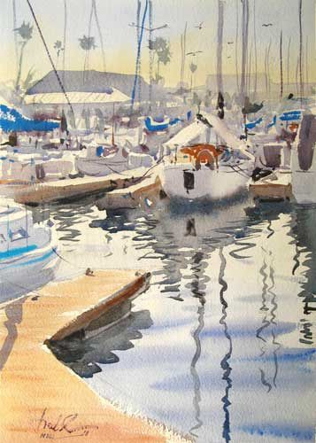 Redondo Beach Harbor Plein Air by Frank Eber