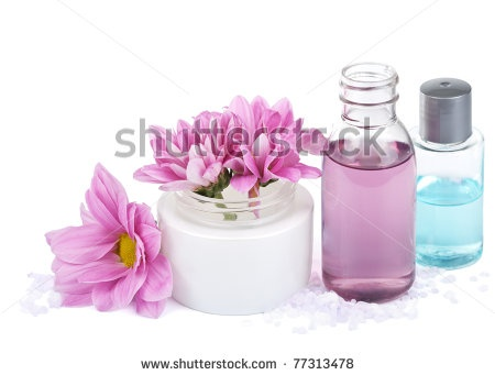 stock photo : set of natural cosmetic isolated