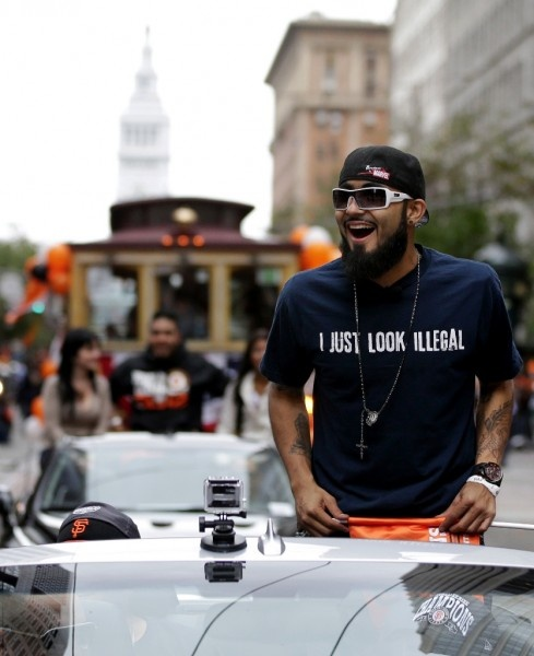 Sergio Romo....making a Political Statement.... World Series Giants Parade 2012