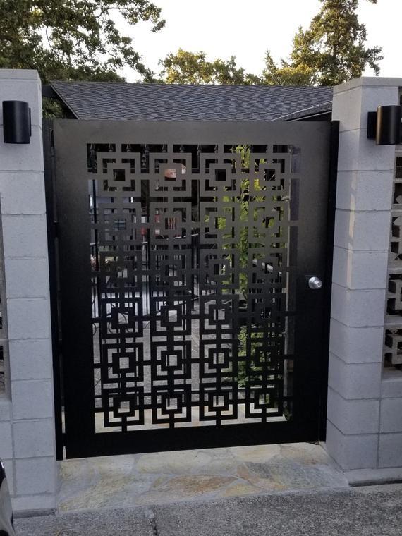 Contemporary Modern Metal Gateurban Gate Custom Size Art Etsy In 2020 House Gate Design Metal Garden Gates Metal Doors Design