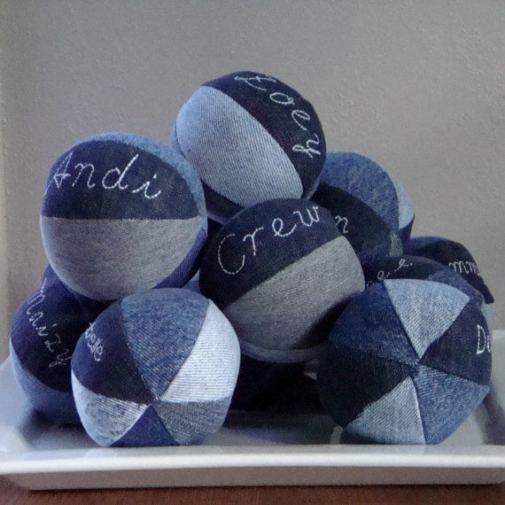 Personalized Recycled Denim Dog Squeaky Ball by smilingfrogpets.