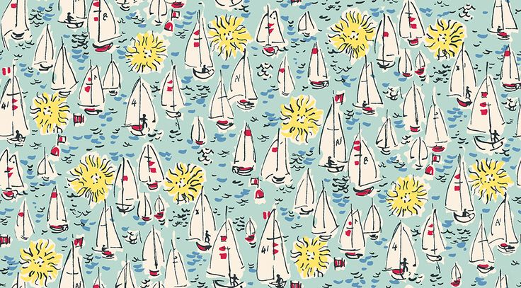 Mid Century Sailing Boats Aqua wallpaper by The Vintage Collection