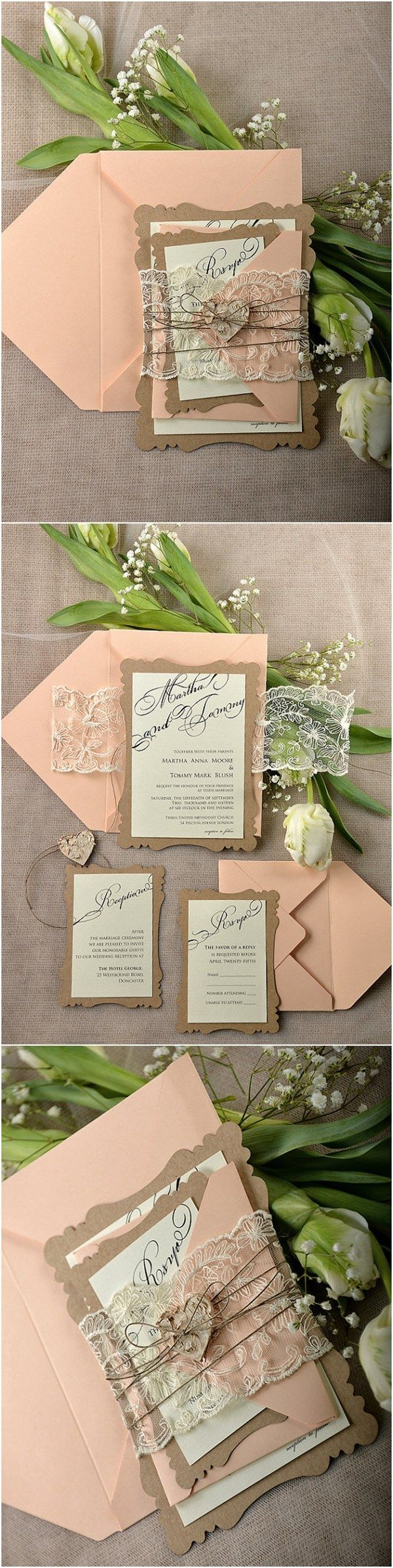 Rustic Eco Peach Lace Laser Cut Wedding Invitation Kits - Deer Pearl Flowers