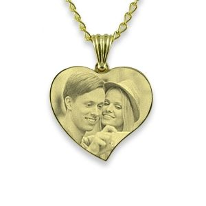 Gold Plated Silver Small Curved Heart Photo Pendant