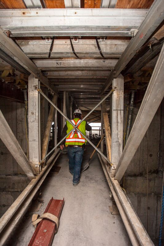 X2 Construction Tour (May 2014) -- 46th floor elevator shafts.