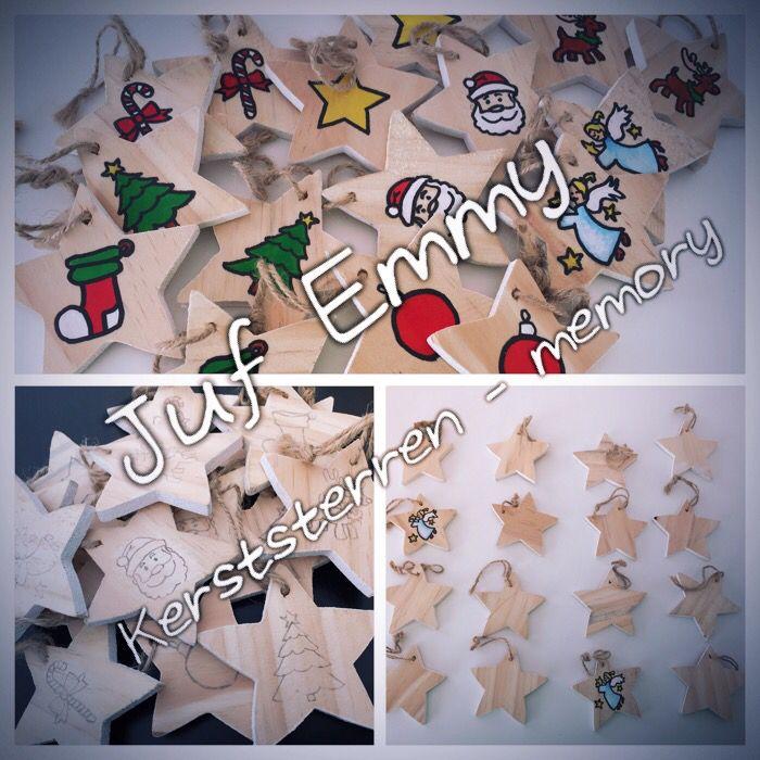 Juf Emmy; Na de herfstmemory op boomstronkjes, De Kerstmemory op sterren!  ⭐️⭐️⭐️  Ps; sterren te koop in action!