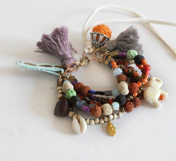 Fall Beaded Bracelet  Gemstones Bohemian by stellacreations