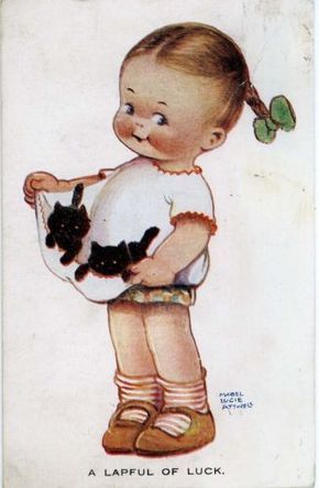 """Mabel Lucie Attwell Postcard """"A Lapful of Luck"""" Girl with Two Kittens 1925 