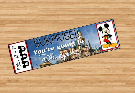Surprise!! You're going to Disneyland!   Printable Ticket to Disneyland Custom Name Dates Personalize Surprise Mickey Minnie Mouse DIY Digital File Kids Child Disney pdf announce