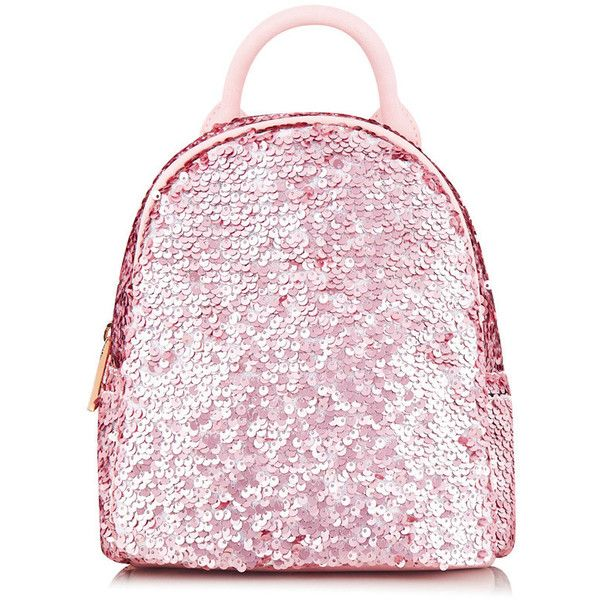 Pink Sequin Mini Backpack ❤ liked on Polyvore featuring bags, backpacks, knapsack bag, mini rucksack, mini bag, rucksack bags and daypack bag