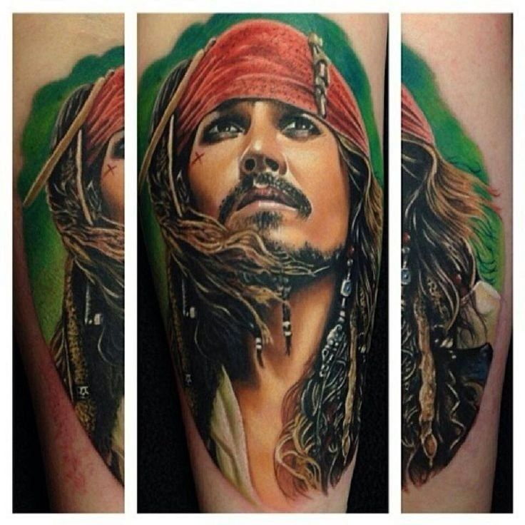 Captain jack sparrow portrait tattoo tattoos pinterest for Captain jack sparrow tattoo