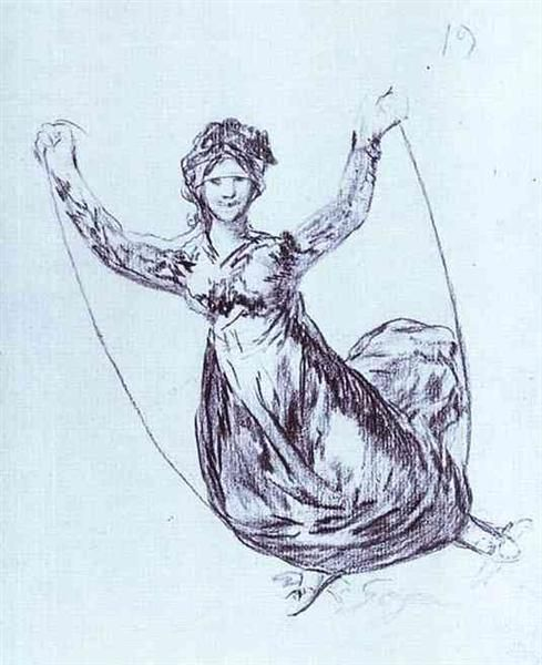 Young Witch Flying with a Rope by Francisco Goya. Romanticism. capriccio