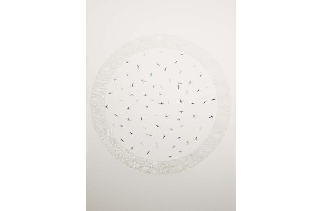 Nathalie Grimard | Noeuds 2 | Perforation et fil sur papier (perforation and thread on paper) | 2012