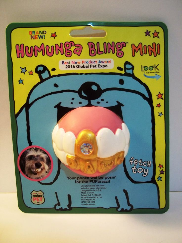 HUMUNGA+BLING+MINI+Funny+Teeth+Rubber+Pet+Dog+Toy+Fetch+Ball+for+SMALL+DOGS