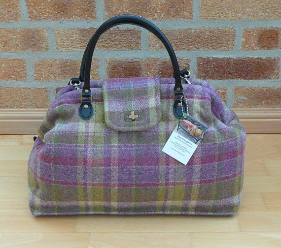 Overnight Bag, Mary Poppins Bag, Carpet bag, Plaid Wool Tweed Bag, Custom Order bag, Tweed carpet bag, travel bag, cabin bag, hand luggage,  Made to order bag  This overnight bag is such an exquisite bag, it is just the right size for an overnight stay or a large day bag.  This amazing