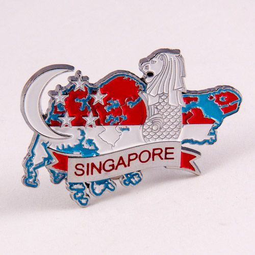 Metal Fridge Magnet: Singapore. Map of Singapore (Chrome Plating and Enamel)