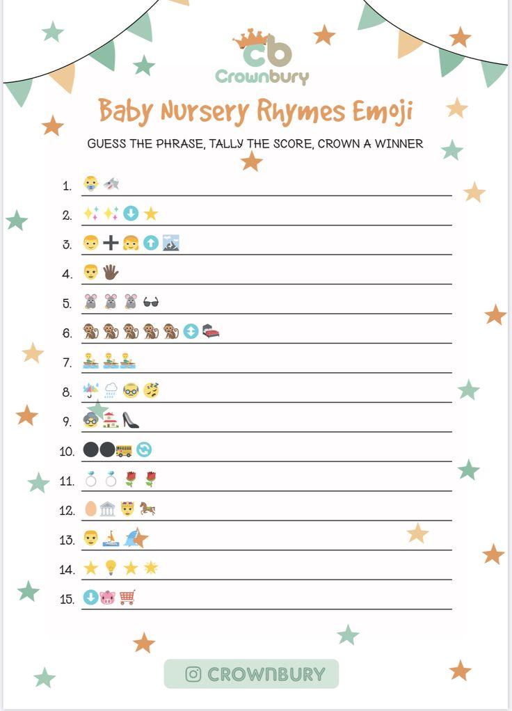 Free downloadable baby shower games - nursery rhymes emoji ...