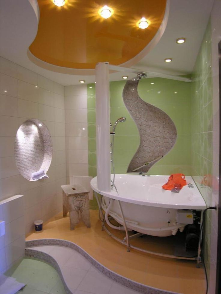Beauty Your Room Interior With Wonderful Ceiling Design Ideas : Minimalist Bathroom Design With White Orange Beautiful Ceiling And Lighting Ideas As Well Bathtub Corner On Orange Floor As Well Green White Tile Wall