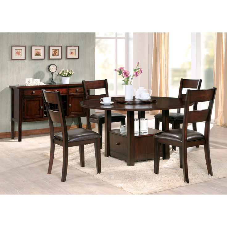 Steve Silver Gibson Drop Leaf Dining Table With Storage   Converts To Dining  Or Counter Height   Espresso
