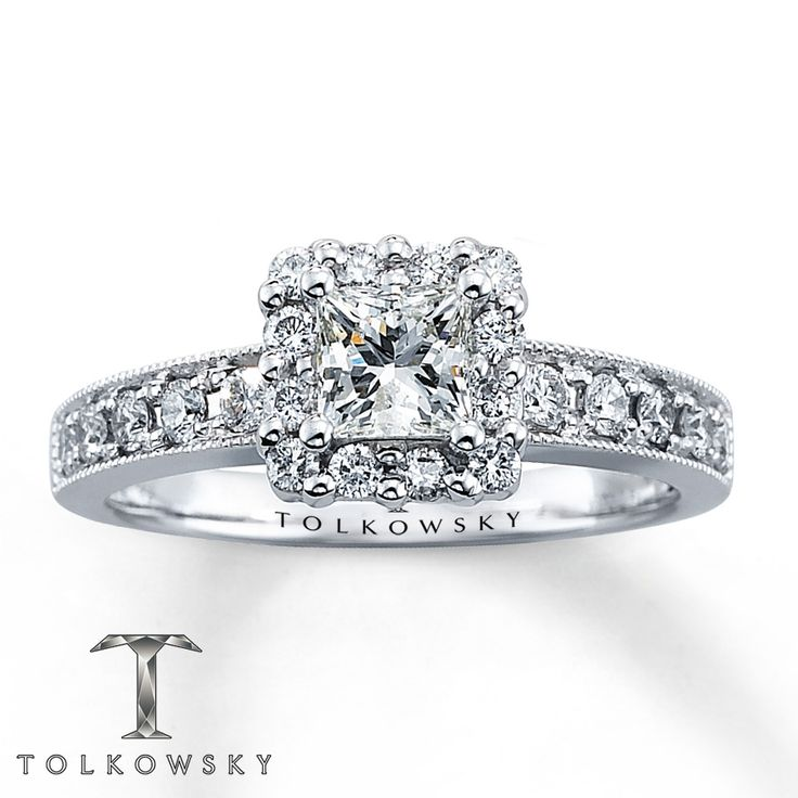 Kay Tolkowsky Diamond Engagement Ring 7 8 ct tw Princess cut 14K White Gold