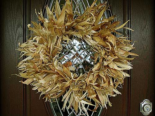 Corn Husk Wreath  Dried corn husks, twine and wire clothes hanger