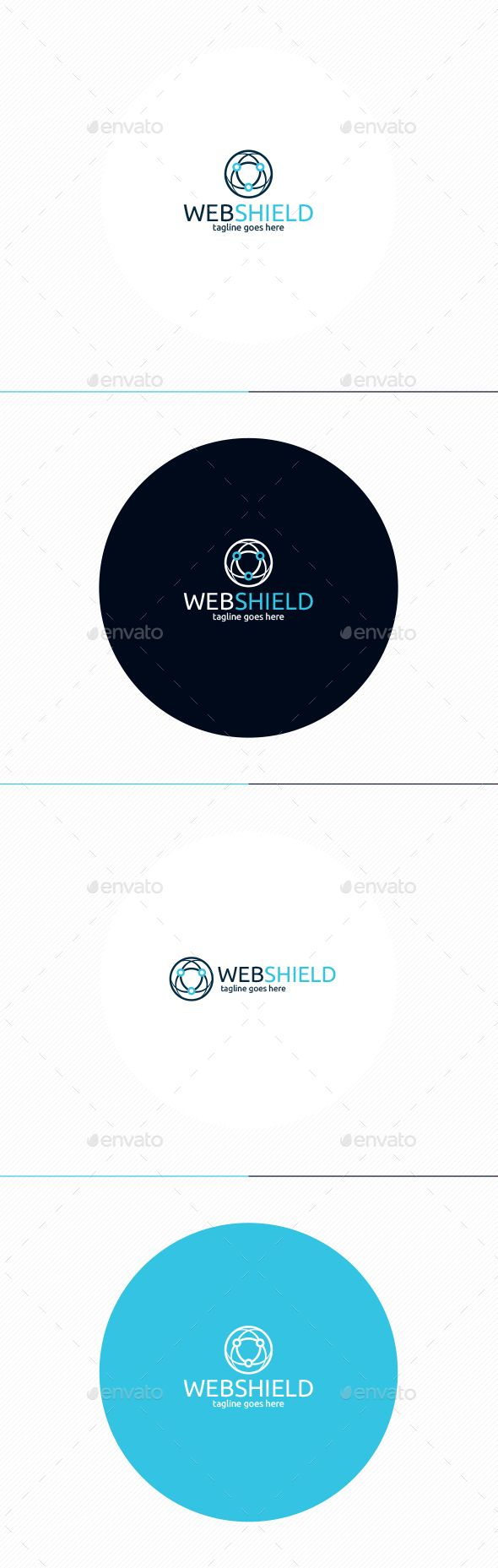 Web Shield Logo by shaoleen �20Fully Editable Logo �20CMYK �20AI, EPS, PSD, PNG files �20Easy to Change Color and Text