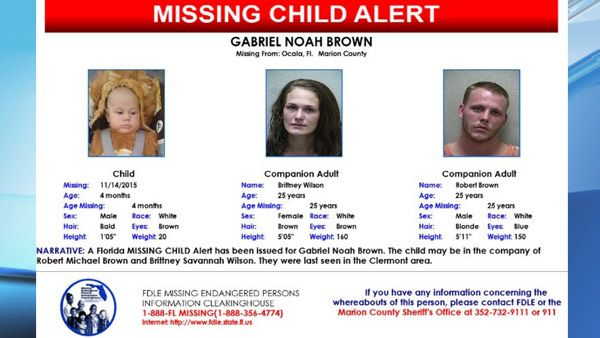 Florida Department of Law Enforcement issued a state Missing Child Alert for a 5-month-old boy from Marion County.
