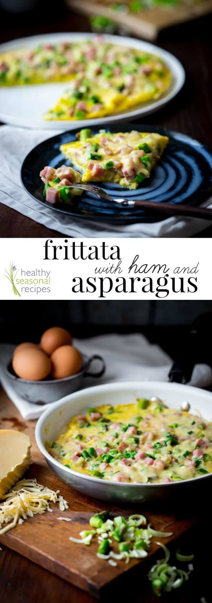 Frittata with Ham and Asparagus. Ready in just 20 minutes and gives you 23 grams of protein! Perfect for Easter brunch or a weeknight meal. Healthy Sesonal Recipes | Healthy Seasonal