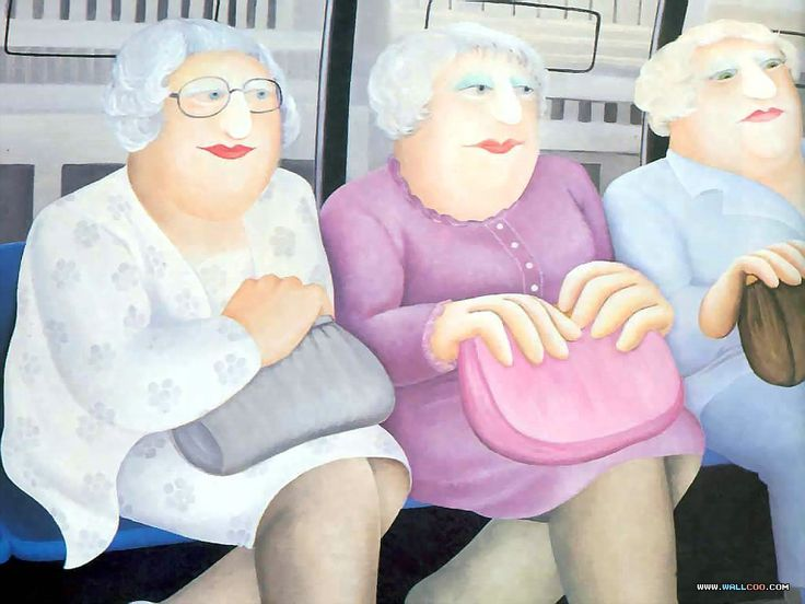 Beryl Cook. I knew three ladies just like these. I`ll call them the Blue-Rinse Girls.