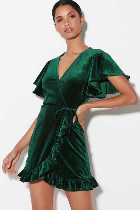 01ce4c2b4ec West Village Dark Green Velvet Wrap Dress in 2019