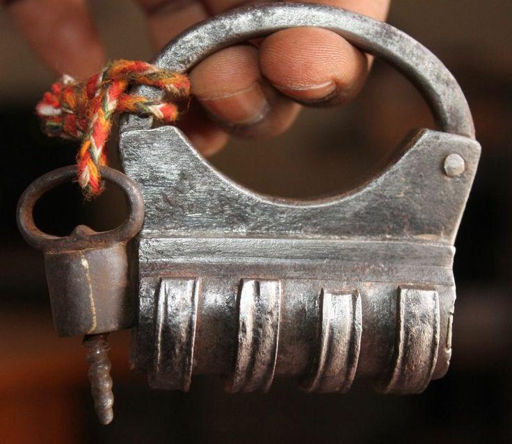 Antique Vintage Round Shape Screw locking Key Handmade Iron Padlock