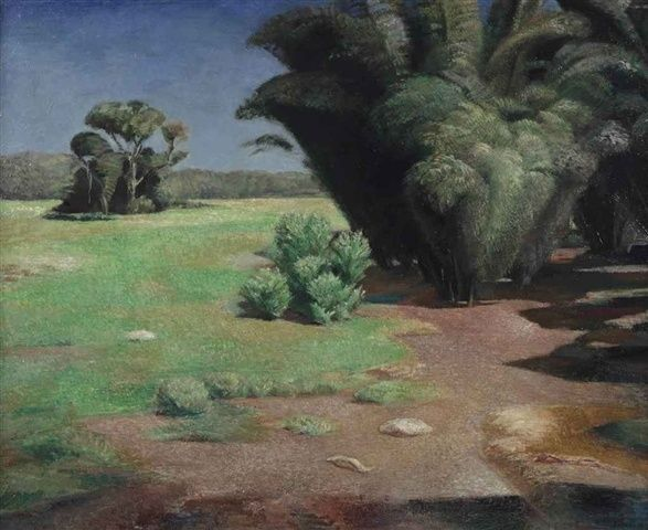 blastedheath:  Piet Ouborg (Dutch, 1893–1956), Bamboebosje [Bamboo grove], 1936. Oil on canvas, 66 x 80.5cm.