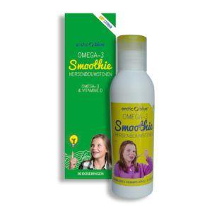 OMEGA-3 Smoothie met vitamine D (Fles 150 ML)  Vette vis bevat veel belangrijke Omega-3 visvetzuren én vitamine D. Dit in tegenstelling tot magere vis zoals kibbeling vissticks tilapia en pangasius die weinig omega-3 en vitamine D bevatten. Het is wetenschappelijk bewezen dat 250 mg Omega-3 DHA goed is voor de (kinder) ogen; het helpt om normaal te kunnen zien. Een dagelijkse hoeveelheid van 250 mg DHA is ook goed voor de hersenen en helpt de hersenfunctie normaal te houden. Maar liefst 8%…