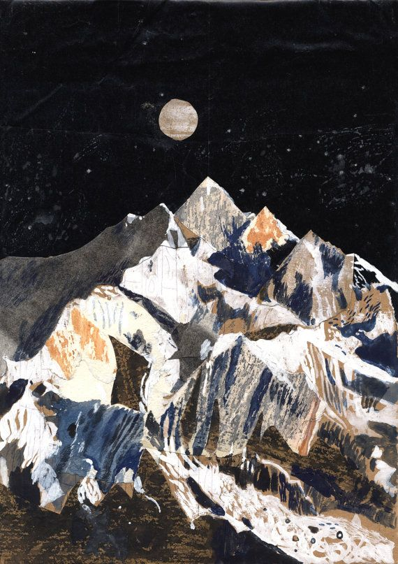 Here is an A3 Print (11.69 in x 16.54 in) of an original mixed media collage inspired by the third highest mountain in the world, Kanchenjunga This is