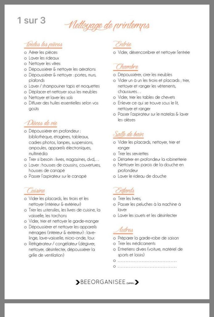 Liste Imprimable Pour Le Nettoyage De Printemps Personalized Items Organization Person