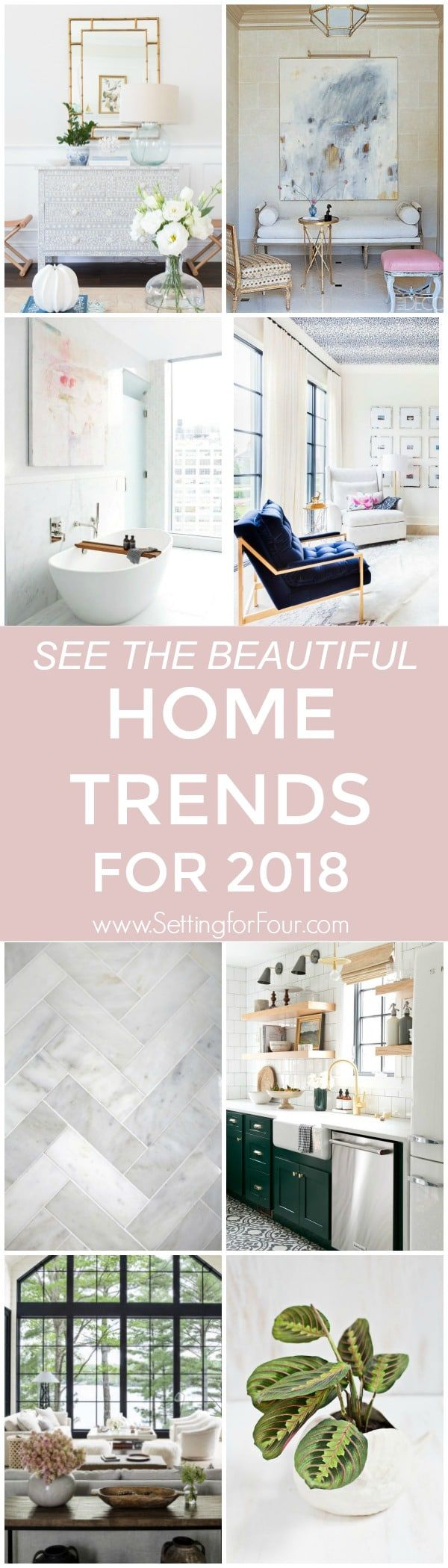 Looking to refresh your home decor or renovate? Building a new home or just want to tweak your accents? Take a look at the best Home Trends for 2018 in Design and Decor straight from the trend list on Pinterest! Pinterest has released it's fourth annualtop 100 trendsfor 2018, and the decor list is defined by both bold color and neutral minimalistic details. #interiordesign #interiordecor #house #style #life #space #idea #trends