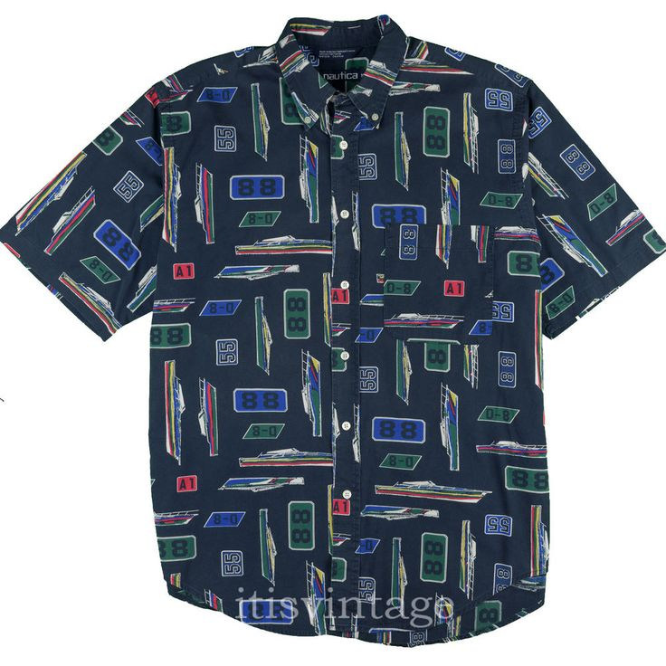 Nautica Yacht Racing Shirt Vintage All Over Boat Flag Print 100% Cotton Medium M #Nautica #ButtonFront #itisvintage #yachting