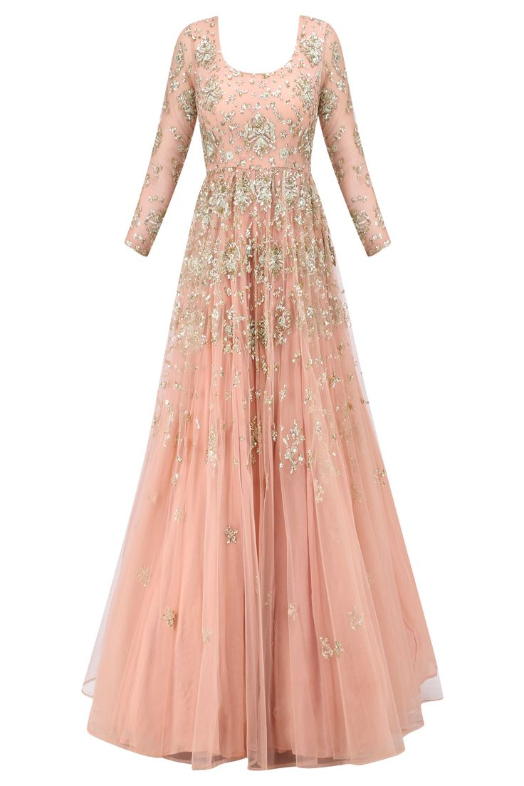 Peach sequin embroidered anarkali gown available only at Pernia's Pop Up Shop.