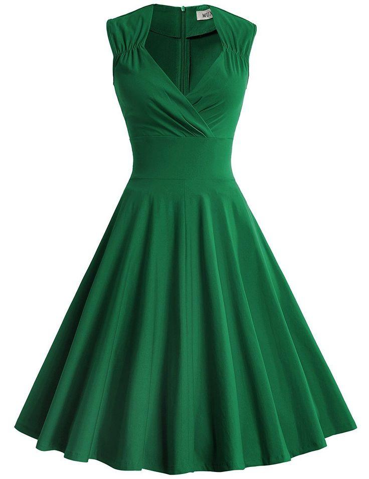 Cool Great MUXXN Women's Retro V Neck Cap Sleeves Big Swing Bridesmaid Dress M Green 2017 2018 Check more at http://24store.cf/fashion/great-muxxn-womens-retro-v-neck-cap-sleeves-big-swing-bridesmaid-dress-m-green-2017-2018/
