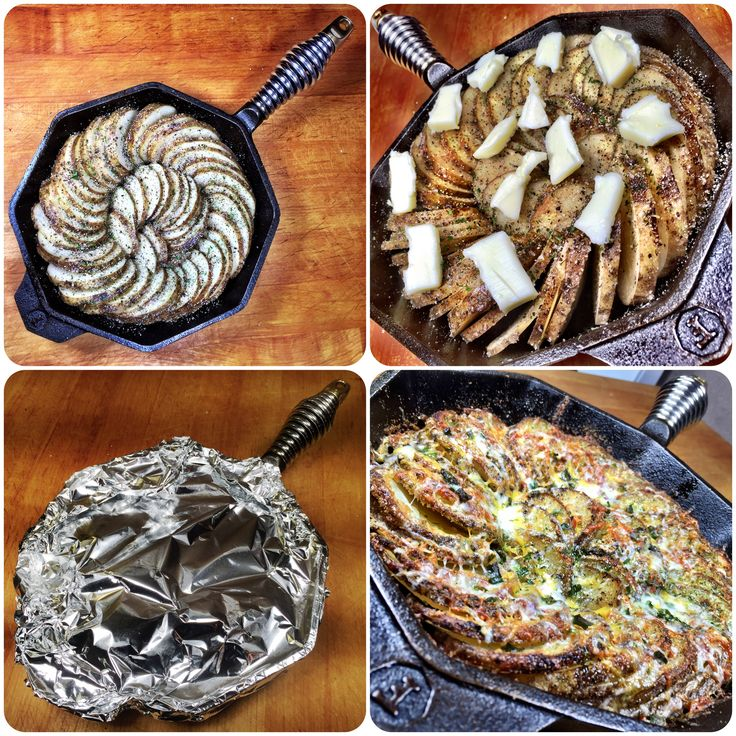 Spiral Skillet Potatoes -Grease skillet with extra-light olive oil -Lay thinly-sliced potatoes in skillet -Brush with extra-light olive oil -Season w/kosher salt, fresh-ground blk pepper, granulated onion & garlic, and dried parsley -Top with butter -Cover with foil and put in a 375 degree oven for 1 hr -Remove foil, add Parmesan cheese. Back in oven uncovered for 20 min. -Remove from oven, add a shredded cheese of your choice -Broil for 5 min. -Sprinkle with olive oil, parsley flakes…