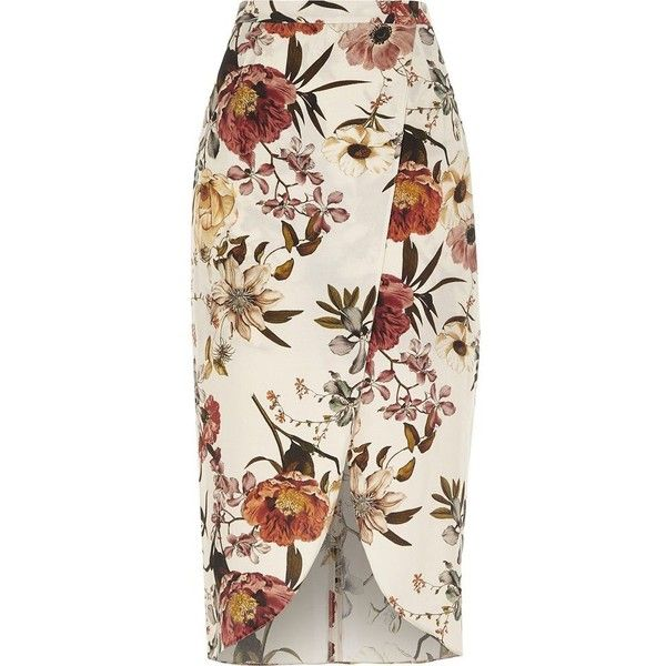 River Island Cream floral print wrap front midi skirt ($70) ❤ liked on Polyvore featuring skirts, cream, midi skirts, women, floral midi skirt, cream floral skirt, mid calf skirts, tall skirts and river island