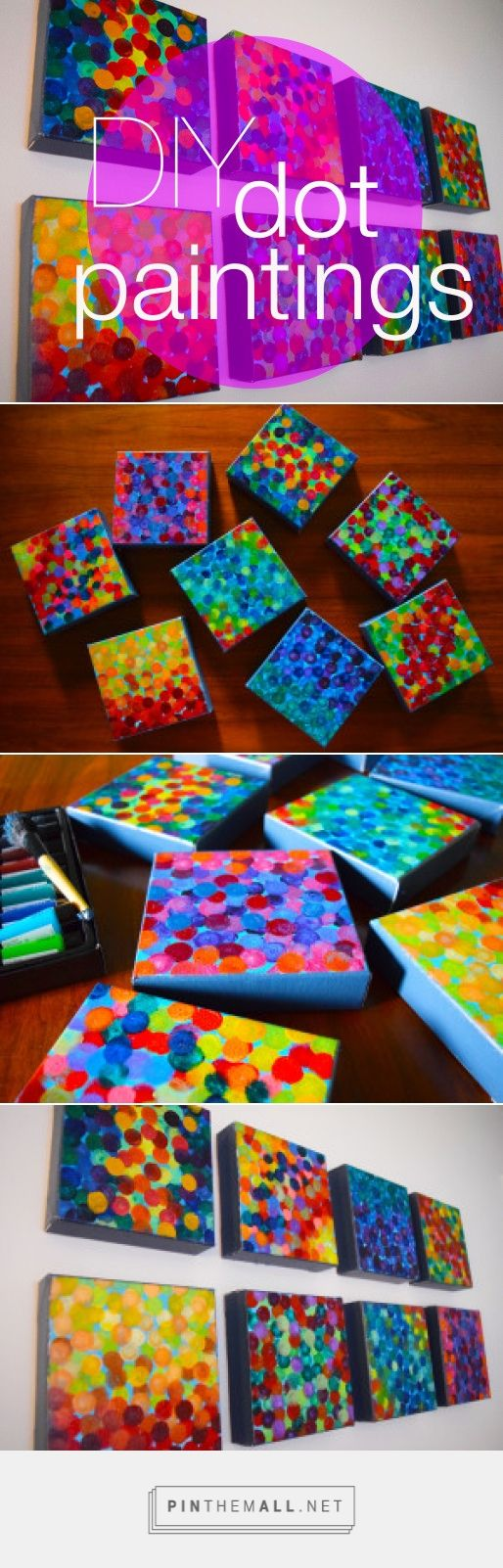 DIY Artwork: Dot Paintings on Canvas - Super cheap and easy to do. www.DreaminginColor.me #crafts #diy #paintings #canvas #color #dots #easycrafts #acrylic #decor #decoration #artwork