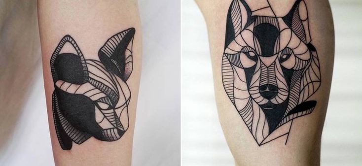 Geometrical Black Tattoos of Animals  Tattoo artist Evel Qbiak creates little monochromatic tattoos. she represents mostly animals heads. Her creations are formed with geometric form and lines. Artiste plays with forms lines and pointillism by filling spaces to come to a beautiful graphic result to imagine birds cats wolfs panda deer or lion. avec de petits tatouages monochromes. Elle représente le plus souvent des figures danimaux. Ses créations sont formées de formes géométriques et de…